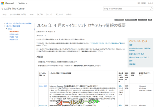 今日は Windows Update 緊急6件、重要7件 2016年4月13日