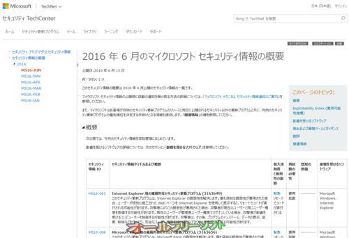 今日は Windows Update 緊急5件、重要11件 2016年6月15日