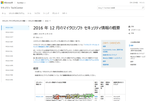 今日は Windows Update 緊急6件、重要6件 2016年12月14日